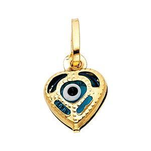 14K Yellow Gold  Evil Eye Heart Pendant